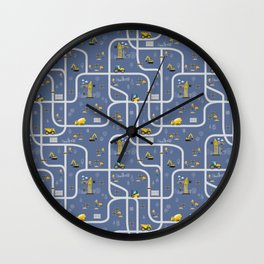 Under Construction Digger Vehicles Blue Pattern Wall Clock