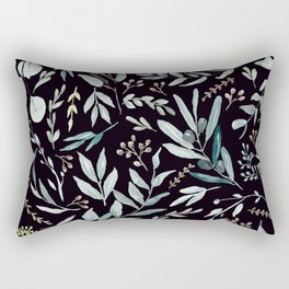 Black Eucalyptus Pattern Rectangular Pillow
