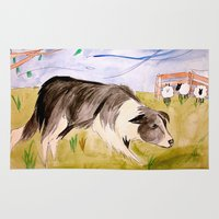 border collie Area & Throw Rugs featuring Border Collie by Caballos of Colour