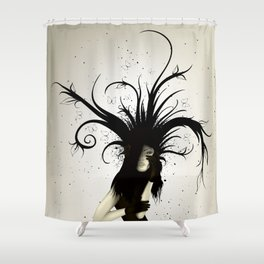 girl in the hat Shower Curtain