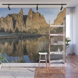 Reflection of Smith Rock in Crooked River Wall Mural