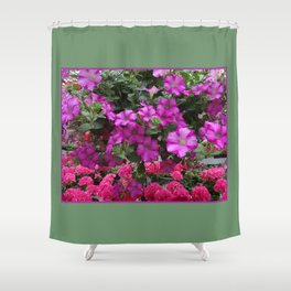 Pink Flowers on Green Shower Curtain