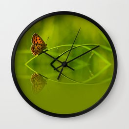 Orange butterfly feflection Wall Clock