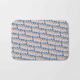 'Dream' Trendy Rainbow Text Pattern (Blue) Bath Mat