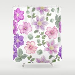 Seamless floral pattern on white background Shower Curtain