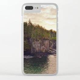 Sunset at Cape Flattery, Washington, Olympic Peninsula, Monolith, Pacific Ocean, Islands Clear iPhone Case