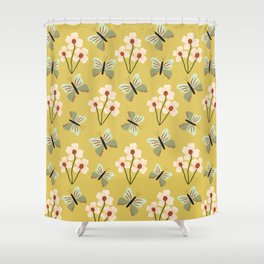 Butterflies and Flowers Pattern Shower Curtain