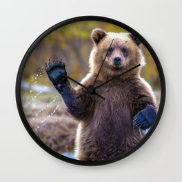 Funny Gorgeous Brown Bear Fishing Looks Like He Is Waving At Us Ultra HD Wall Clock