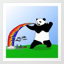 Panda Spitting Rainbow Art Print