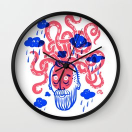 Octopus Thought Bubbles and Beards Wall Clock