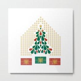christmas tree present house star Metal Print