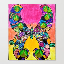 Rainbow Butterfly Intricate Canvas Print