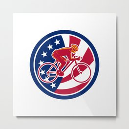 American Cyclist Cycling USA Flag Icon Metal Print