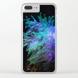 Sea anemone on a black background Clear iPhone Case