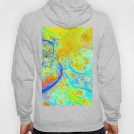 Emerging Galaxies – Abstract Teal & Lime Currents Hoody