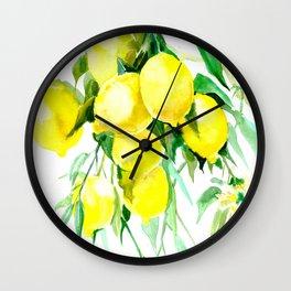 Lemon Tree kitchen decor art towel lemon Wall Clock