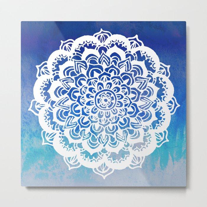 White Floral Medallion on Indigo & Turquoise Watercolor Metal Print