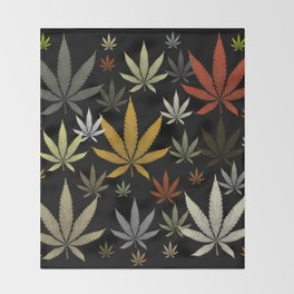 Marijuana Cannabis Weed Pot Leaves Throw Blanket
