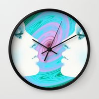 psychedelic Wall Clocks featuring Psychedelic by Emi Nellenbach