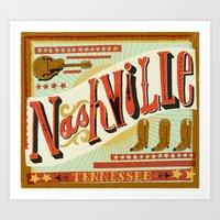 nashville Art Prints featuring Nashville by Mary Kate McDevitt