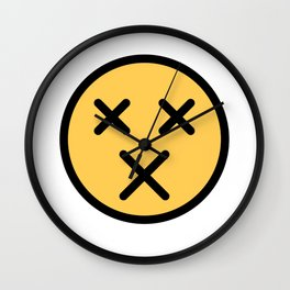 Smiley Face   X Crossed Out Mouth And Eyes Wall Clock