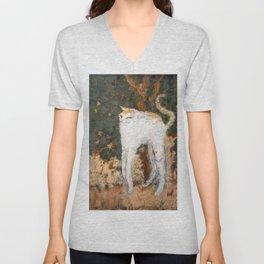 Pierre Bonnard - The White Cat / Le Chat Blanc Unisex V-Neck