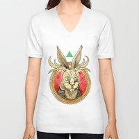 jackalope V-neck T-shirts featuring Jackalope by Tristan Lloyd Lewellyn