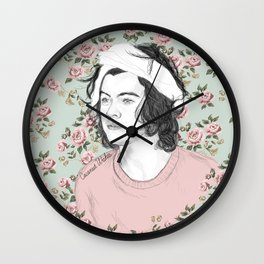 H circle floral  Wall Clock