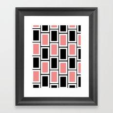 Black and Pink Bricks Framed Art Print