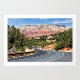Winding road in Sedona, Arizona Art Print