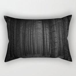 The Dense & Foggy Forest (Black and White) Rectangular Pillow