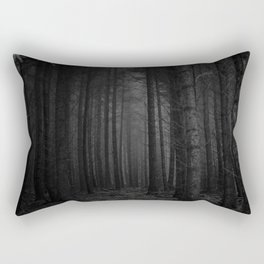 The Dense & Foggy Forest (Black and White) Rectangular Pillow