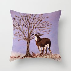 Deer by the tree Throw Pillow