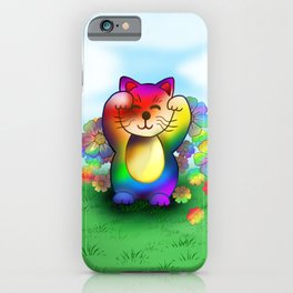 Cute rainbow lucky cat iPhone Case