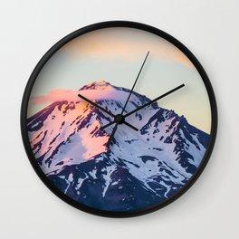 Mount Shasta Sunset Glow Wall Clock
