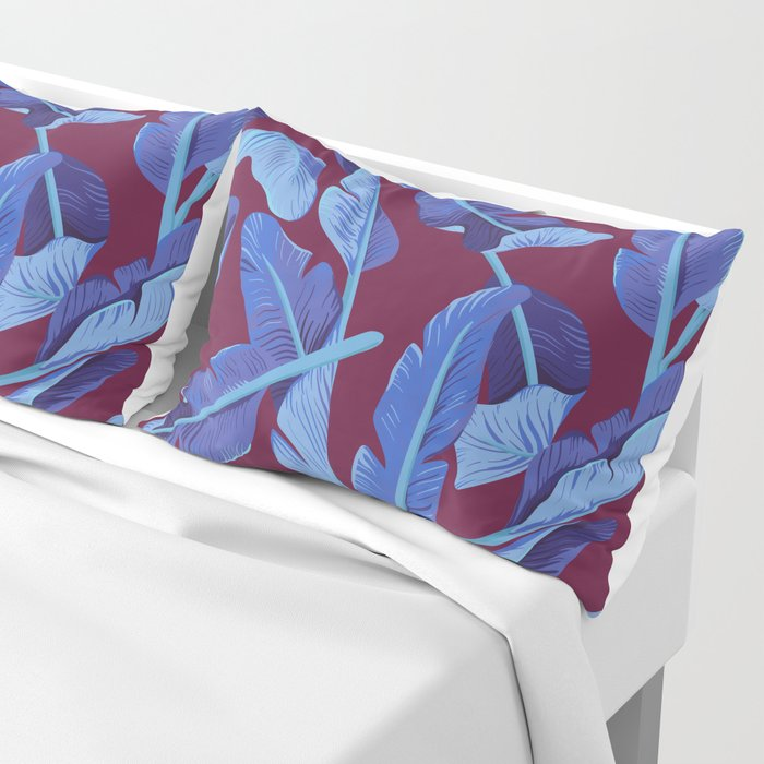 Tropical '17 - Blue Bird Of Paradise [Banana Leaves] Pillow Sham