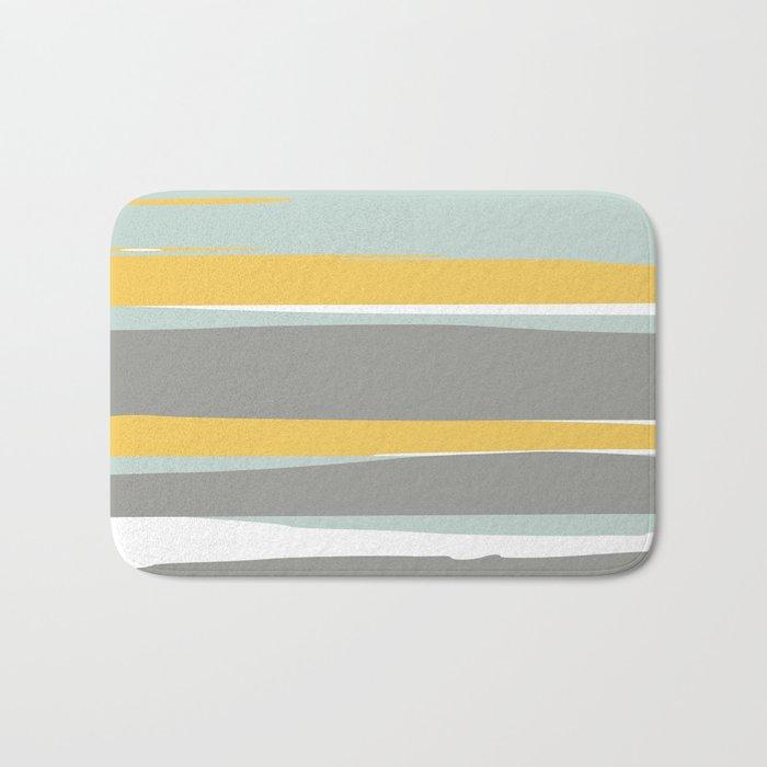 Stripe Abstract, Sun and Beach, Yellow, Pale, Aqua Blue and Gray Bath Mat