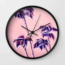 Maroon Leaves_Pastel and watercolor painting on colored paper Wall Clock