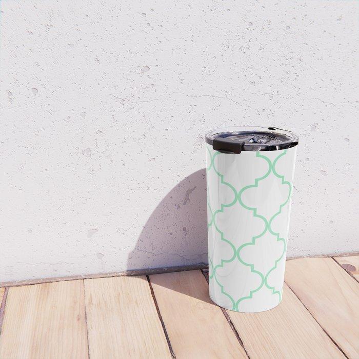 Quatrefoil - mint green Travel Mug