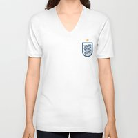 england V-neck T-shirts featuring England Minimal by Daniel Nyari