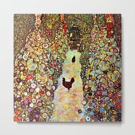 Gustav Klimt Garden with Roosters Metal Print