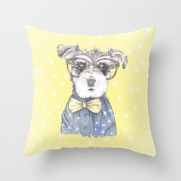 Schnauzer Dog Hipster Pup Throw Pillow