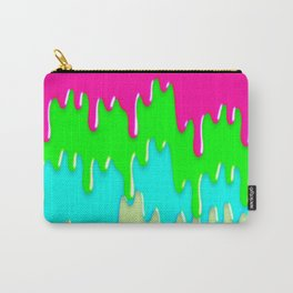 Funny Melting Icecream Neon Pink Green Teal Carry-All Pouch