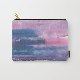 Pink Blue streaked watercolor painting Carry-All Pouch