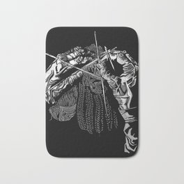 Geometric Black and White Drawing Kitting Hands Bath Mat
