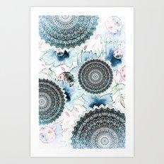 BLOOM MANDALAS IN BLUE Art Print