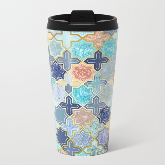 Cream, Navy and Aqua Geometric Tile Pattern Metal Travel Mug