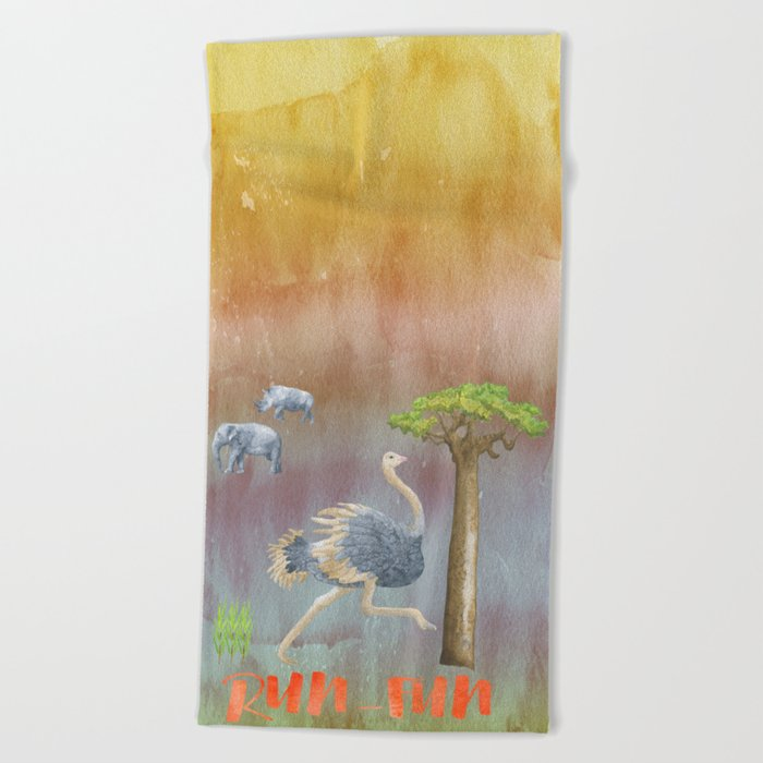 Run Fun - Ostrich Bird Animal Africa  Illustration Beach Towel