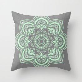 Mandala Flower Gray & Mint Throw Pillow