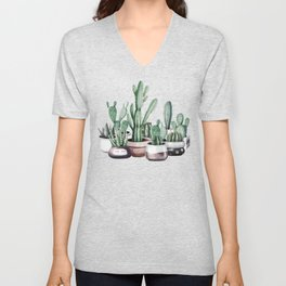 Cactus + Succulents Rose Gold Pattern by Nature Magick Unisex V-Neck